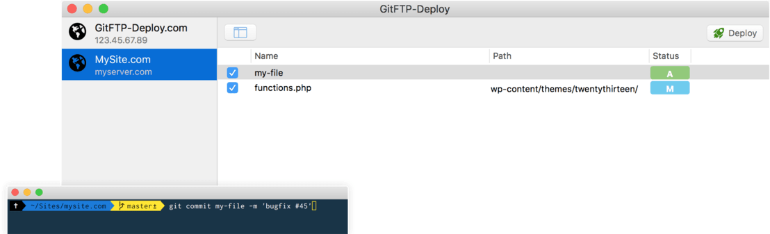 GitFTP-Deploy interface